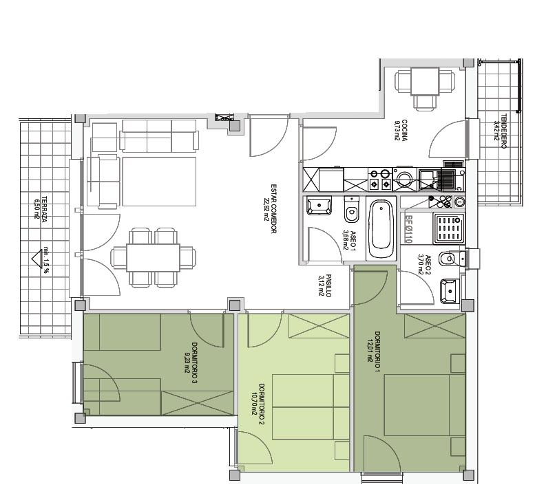 Opción A, Viviendas flexibles, Residencial ARTADI BI Etxadia, Zumaia