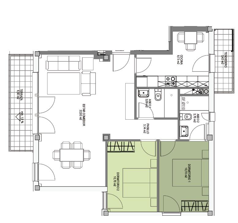 Opción B, Viviendas flexibles, Residencial ARTADI BI Etxadia, Zumaia