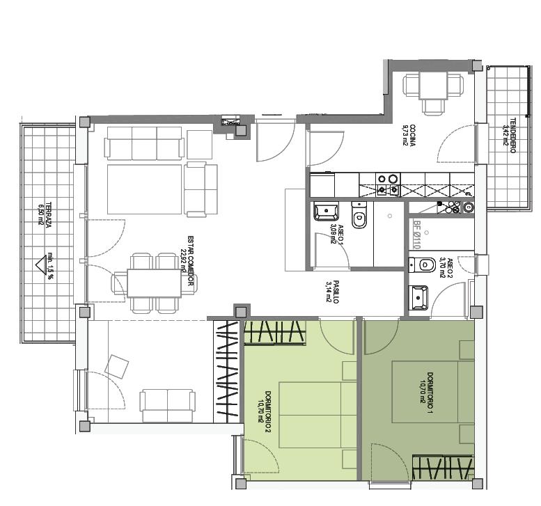 Opción flexible, Viviendas flexibles, Residencial ARTADI BI Etxadia, Zumaia